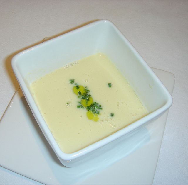Creamy Corn Soup With Poached Lobster & Chive Oil Recipes — Dishmaps