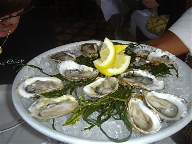 Oysters on the half shell – they had 5 different kinds of oysters to choose