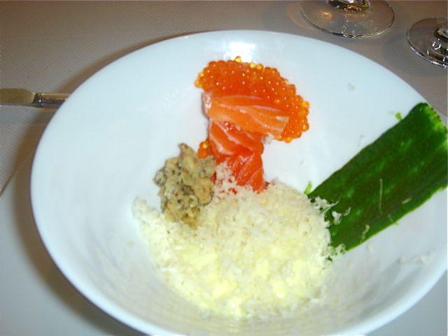 Sashimi draped in trout eggs, crispy trout skin, lemon foam, dill ...