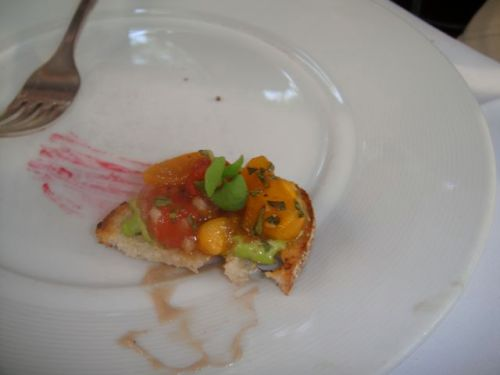 close-up of heirloom brischetta