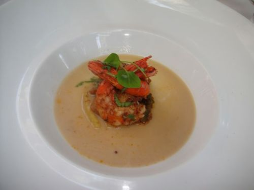 spot prawns with broth