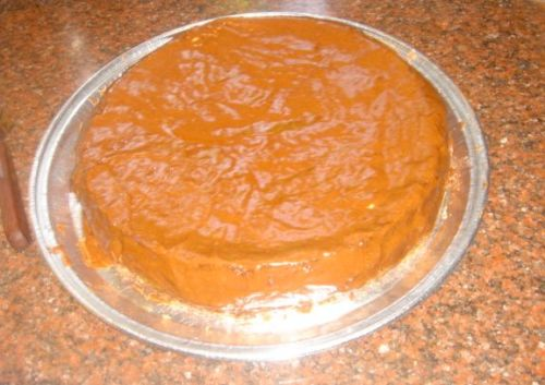 chocolate cake after frosting