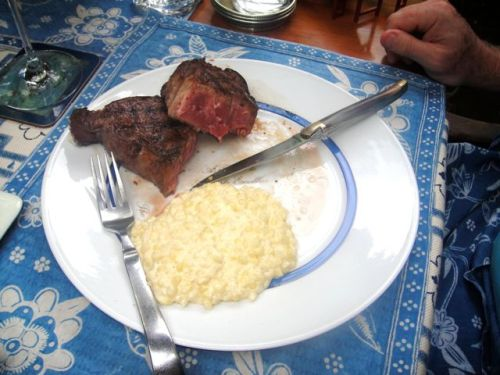 Flannery steak with corn