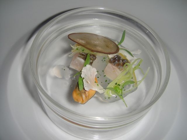 Mediterranean Lubina, Razor Clams, Mussels, Dehydrated Eggplant Chip ...