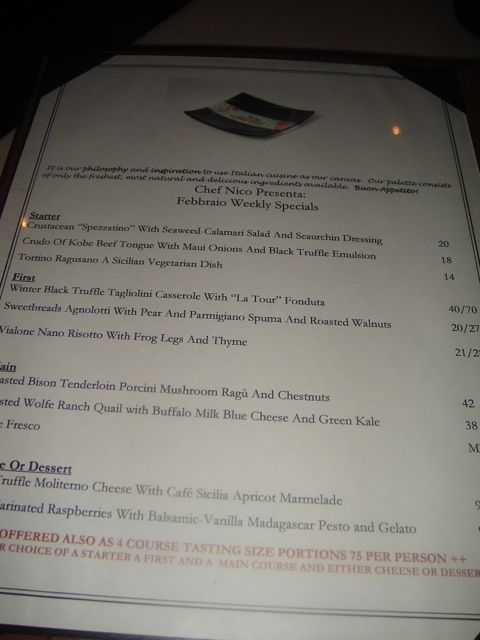 Vin new menu