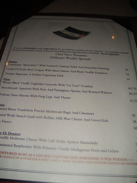 Vin new menu
